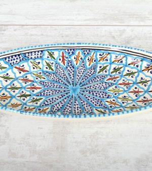 Turquoise Blue Fine Ovale schaal 40 cm